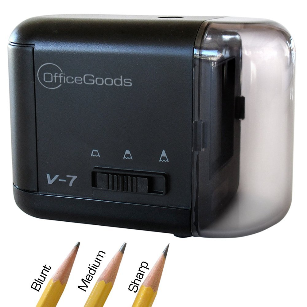 OfficeGoods Compact Electric and Battery Operated Pencil Sharpener – Available in 3 Colors