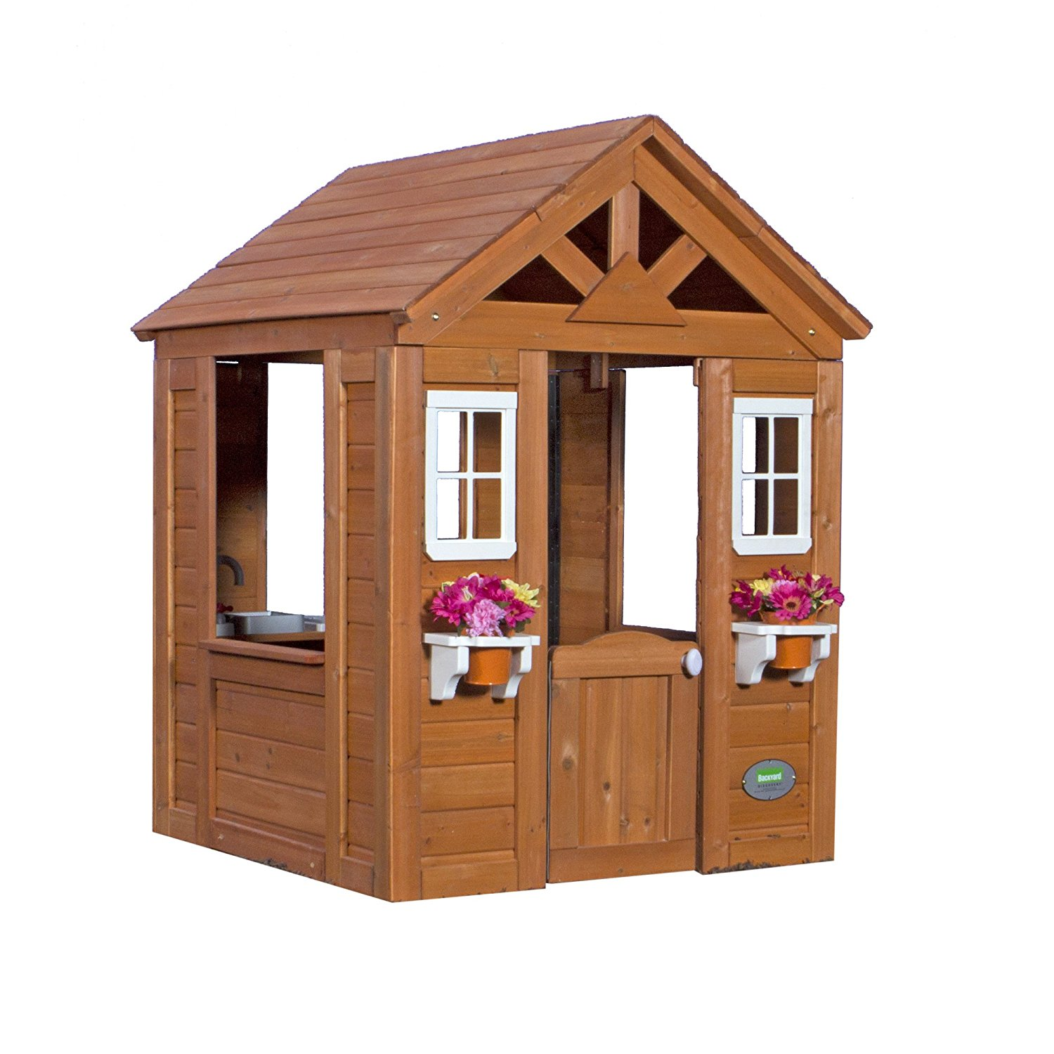 Backyard Discovery Timberlake All Cedar Wood Playhouse with Flower Pot Shelves