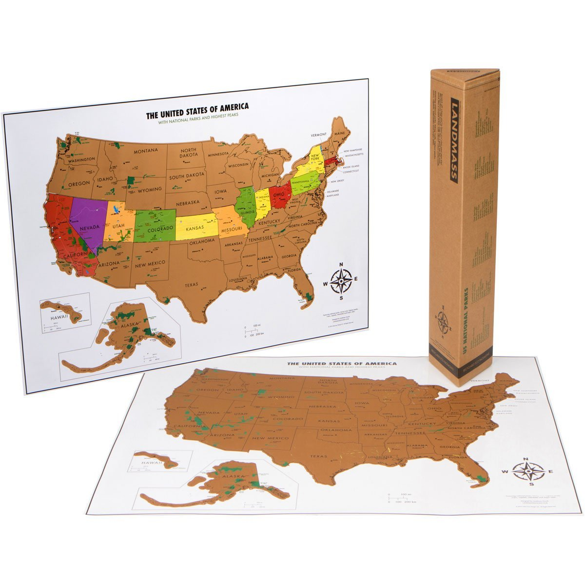 Landmass Goods Scratch Off USA Travel Map