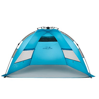 Pacific Breeze Blue Easy Up Beach Tent with UPF 50+ Sun Protection & Large Windows