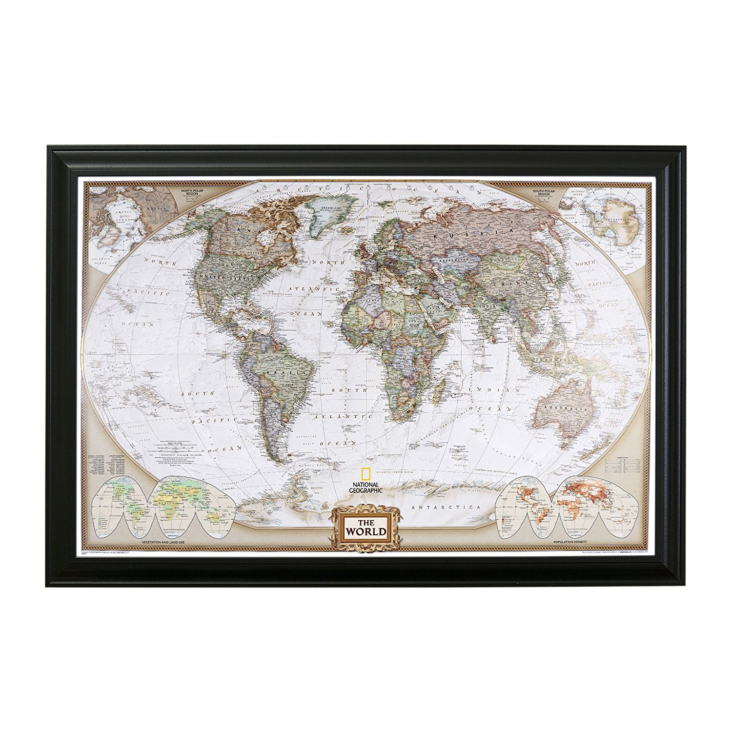 Push Pin Travel Maps Executive World Personalized Map with Pins – Available in 16 Frame Colors