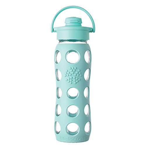 Lifefactory Glass Water Bottle with Flip Cap