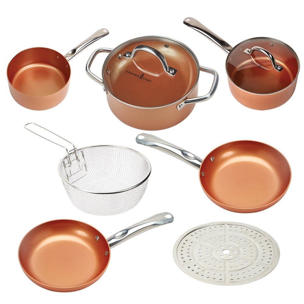 Copper Chef 9 Piece Deluxe Round Pan Set