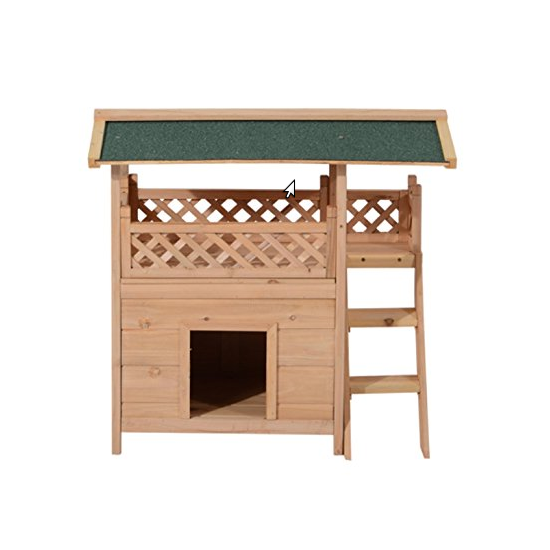 Pawhut 2-Story Wood Cat House Shelter