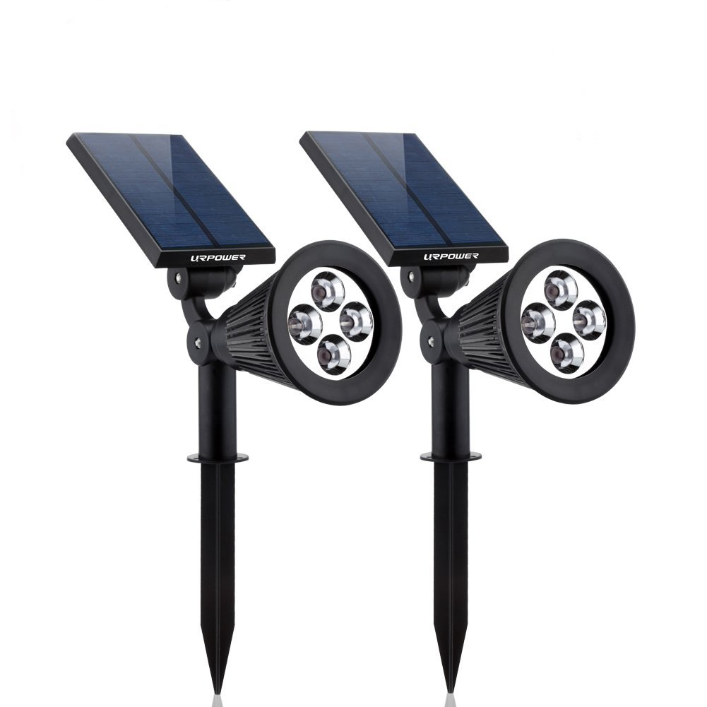 URPOWER Waterproof 4 LED Solar Spotlight – Adjustable Security and Landscape Light, Auto On/Off