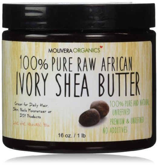 Molivera Organics Organic Grade-A Raw African Ivory Shea Butter for Natural Skin