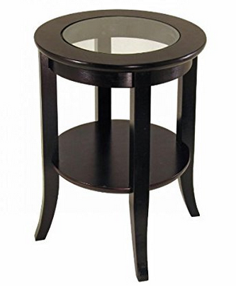 Winsome Wood Genoa End Table with Glass Inset and Display Shelf