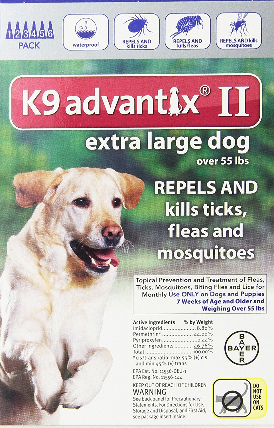 Bayer K9 Advantix II Flea And Tick Control Treatment for Dogs – Available in 5 Sizes & 3 Styles