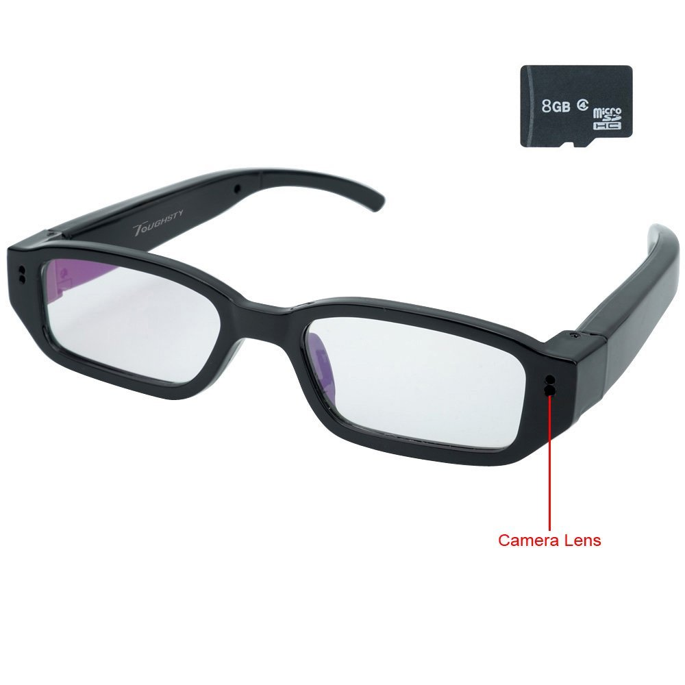 Toughsty Hidden Camera Glasses – 8GB Memory, 1280x720P HD Video, Mini DVR Security Camcorder