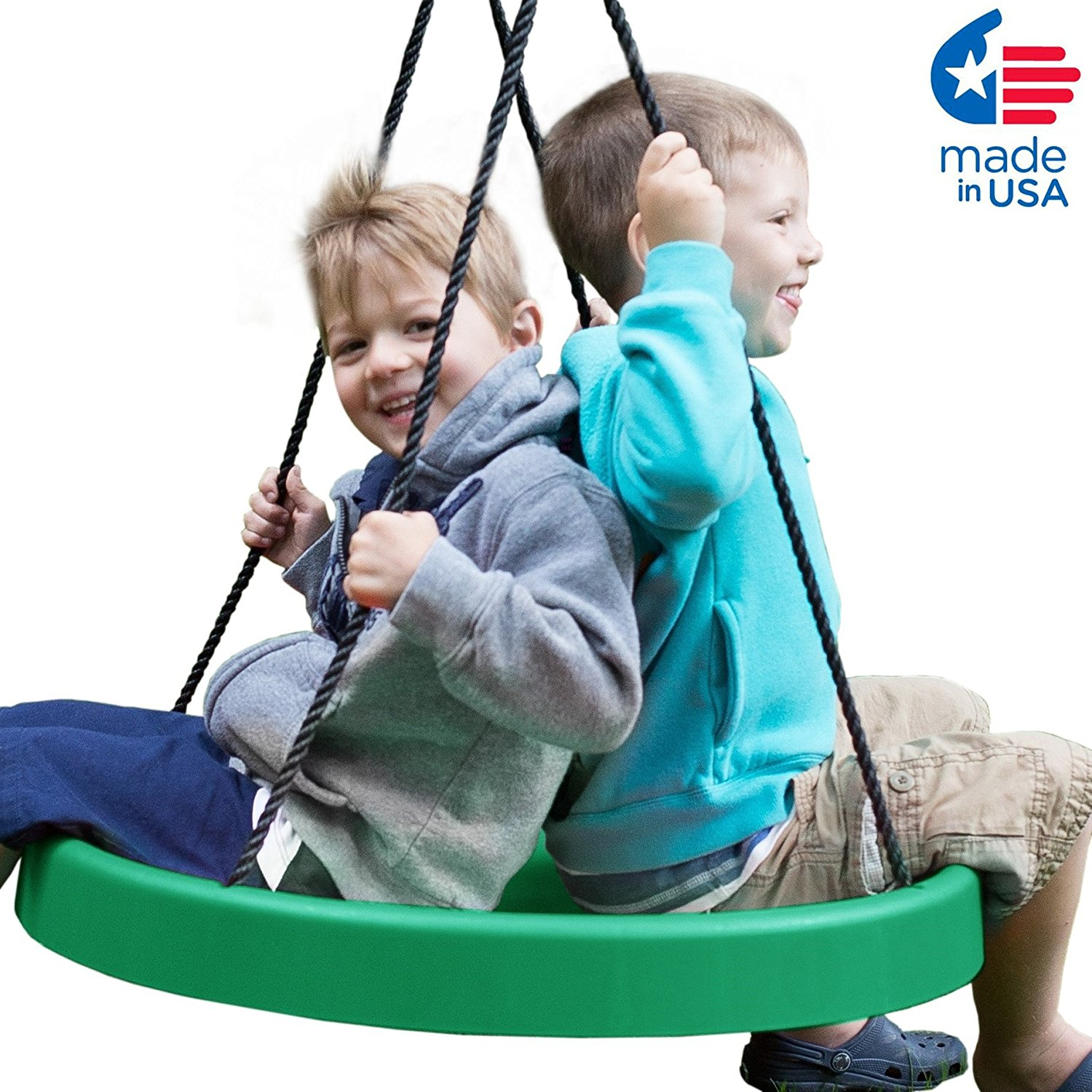 "Supper Spinner FUN 27"" Toddler Swing – Holds 200 Lbs, Tree Hanging Kit Included, 2 Year Warranty, Made in USA"