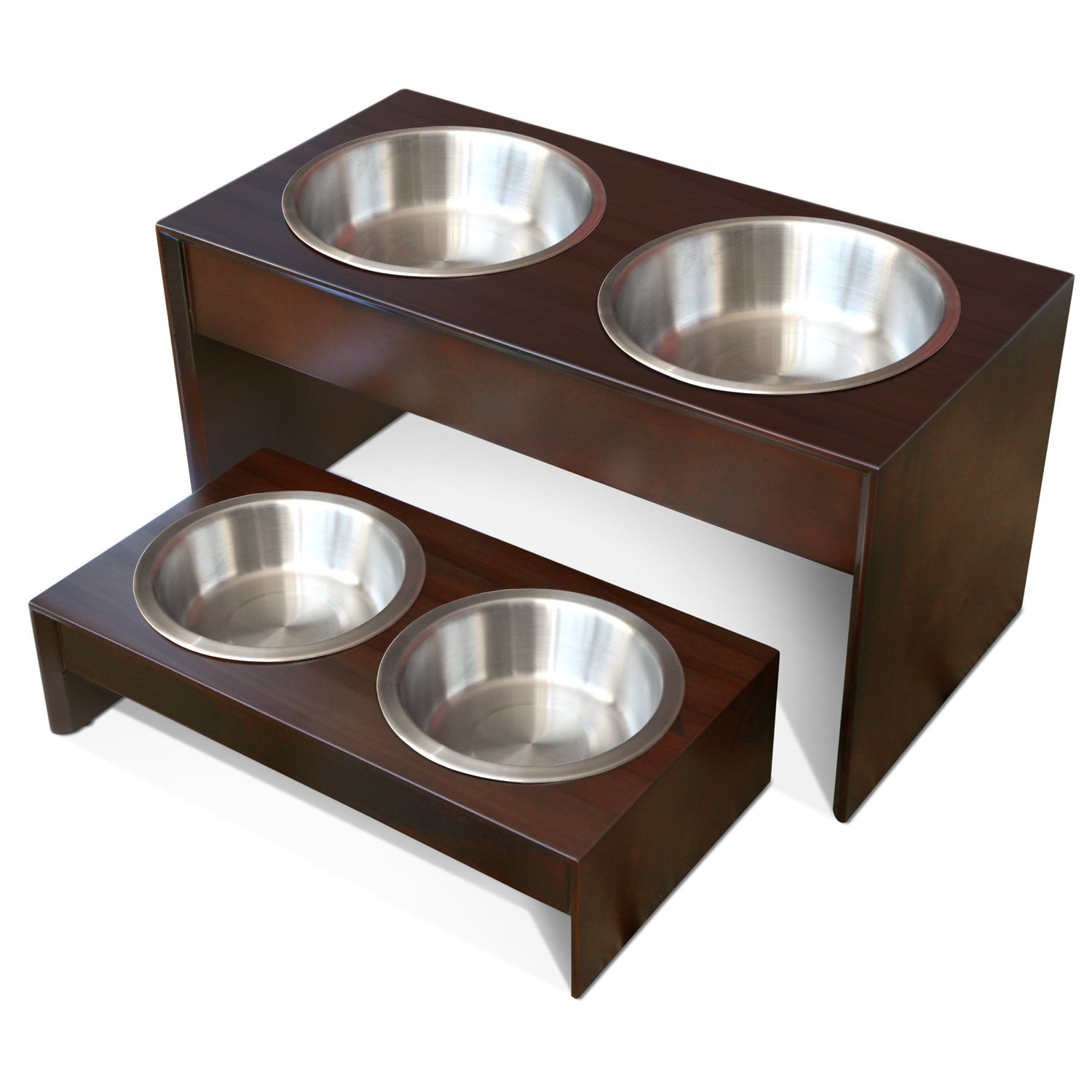 PetFusion Elevated Stainless Steel Pet Feeder in Premium Grade A Solid Wood – Available in 2 Sizes