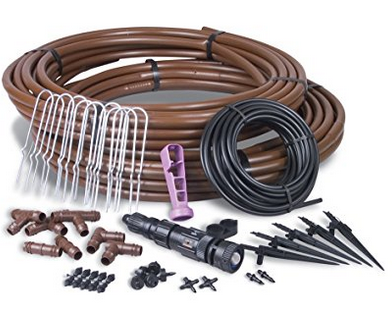Rain Bird Gardener's Drip Irrigation Kit with 50 Pieces & Covers 75 Sq. Ft. – Available in 2 Installation Options