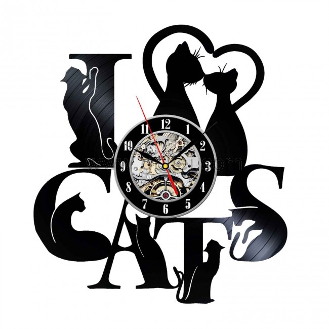 Gullei Decorative Cat Design Vinyl Record Wall Clock for Bedroom