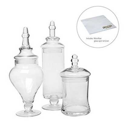 MyGift Designer Clear Glass Apothecary Jars