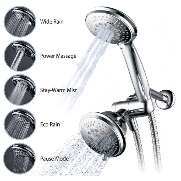 Hydroluxe Full-Chrome Ultra-Luxury Dual Showerhead