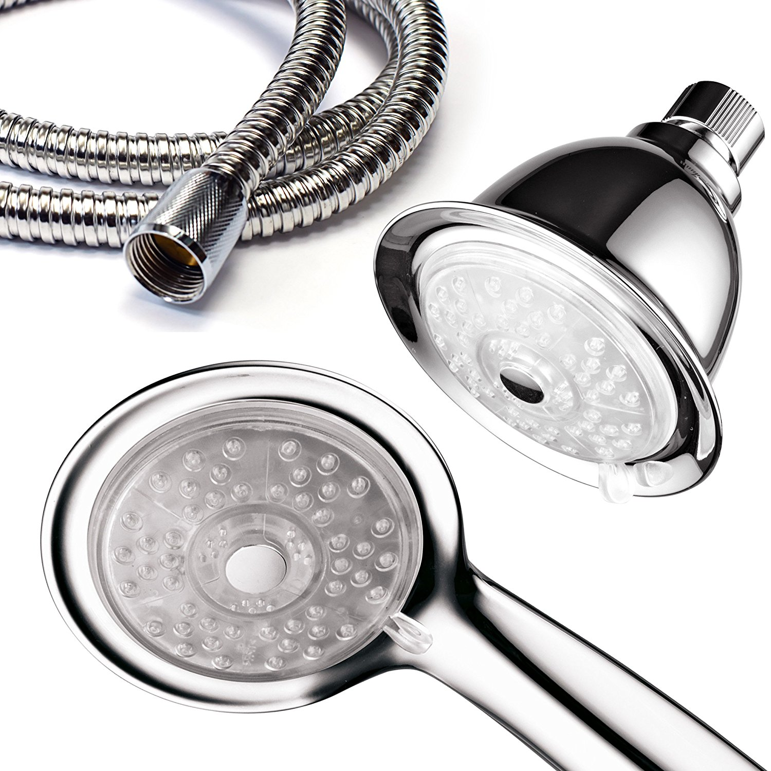 PowerSpa Luminex LED Dual Showerhead Combo With 7-Color 24-Settings & Air Jet Turbo Pressure-Boost Technology