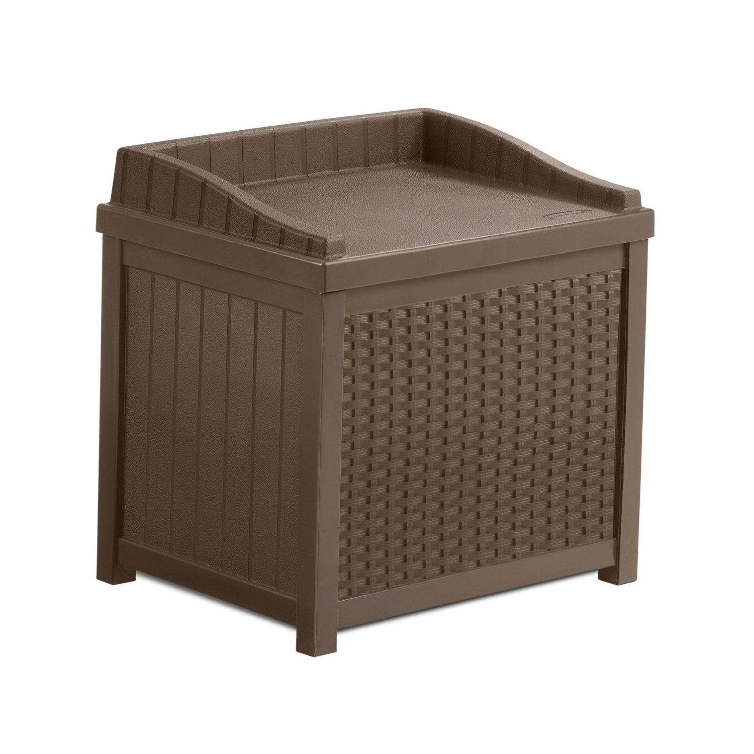Suncast Mocha Resin Wicker 22-Gallon Stay Dry Storage Seat – Matching Trash Hideaway Also Available
