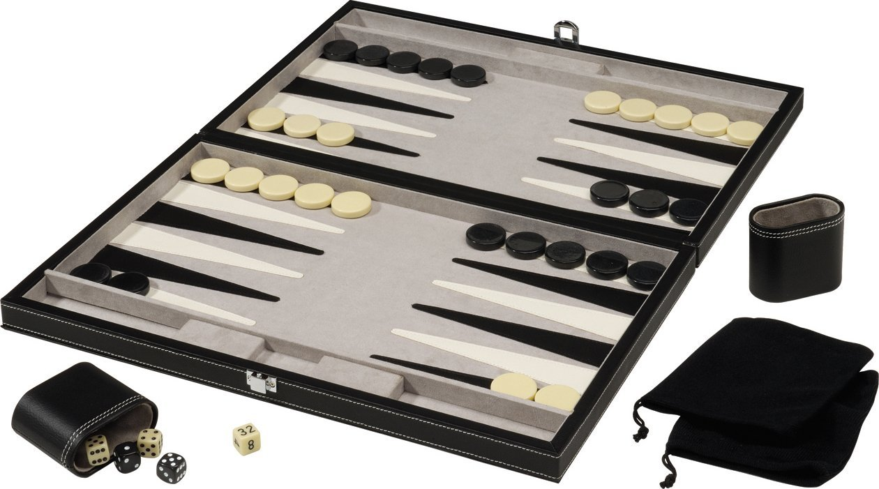 Mainstreet Classics GLD Products 18-Inch Backgammon Board Game Set – Leatherette Interior and Storage Case