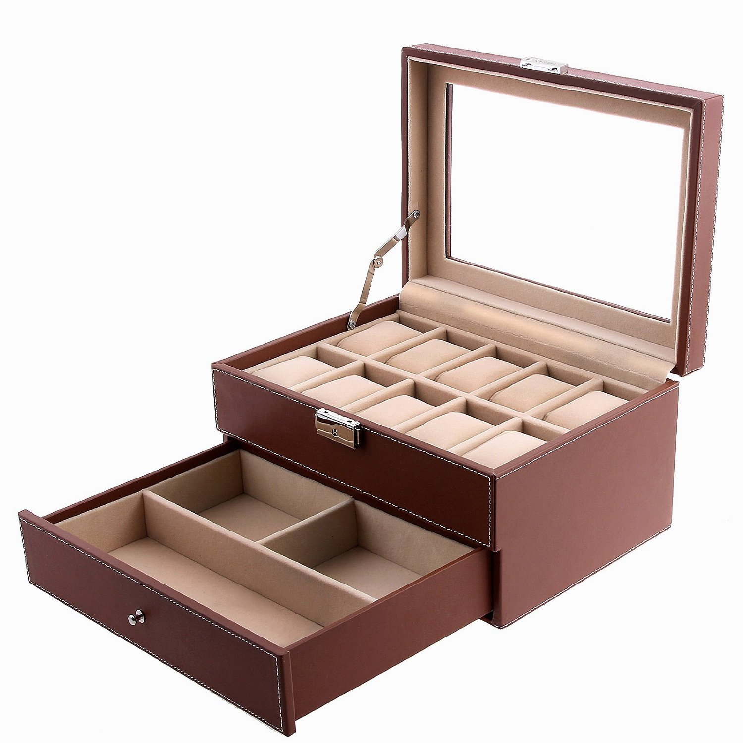 Songmics Leather Lockable Watch Box