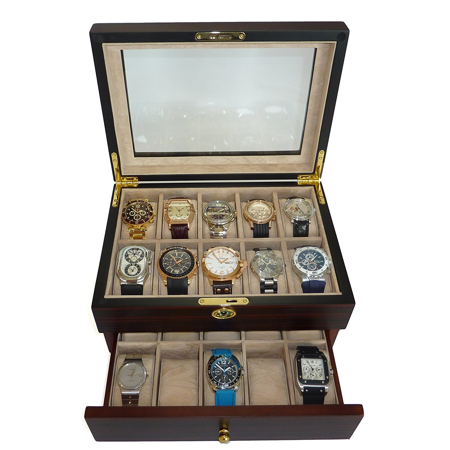 TimelyBuys Wooden Watch Box