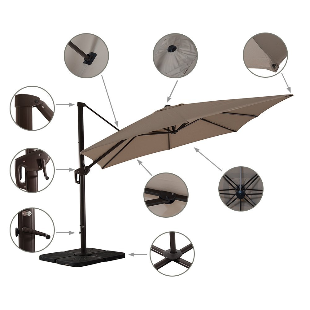 AMT Deluxe 11 Feet Offset Hanging Patio Umbrella - Rotates 360 Degrees, Available in Three Colors