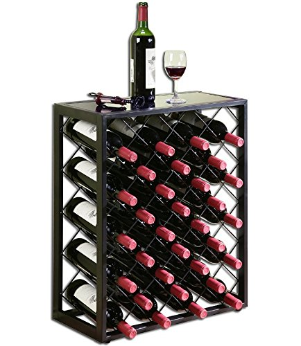 Mango Steam Bottle Wine Rack with Glass Table Top & Steel Construction – Available in 2 Sizes & 2 Colors