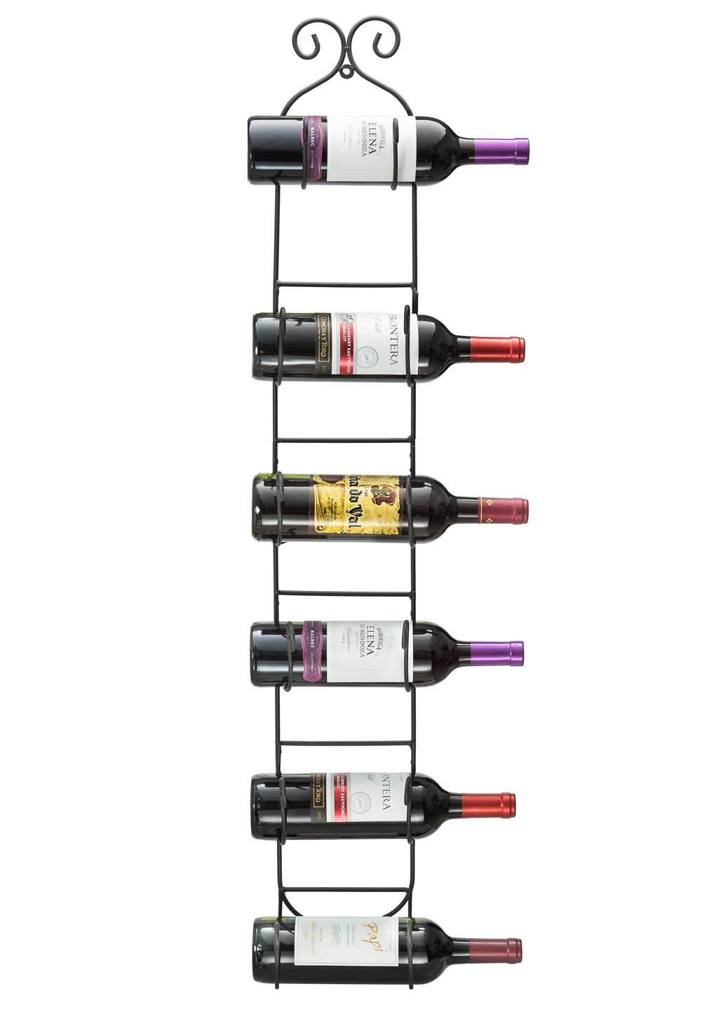Sorbus 6-Bottle Wall Mount Wine/Towel Rack