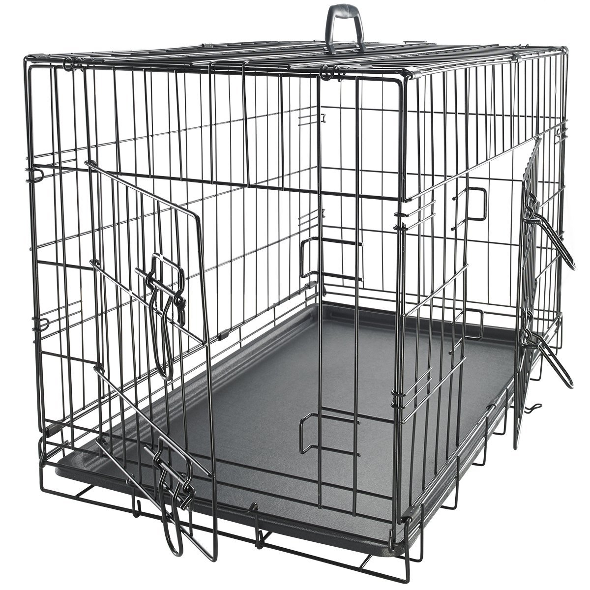 OxGord Double-Door Easy Folding Metal Pet Crate, 100% Washable, Space Saving Design