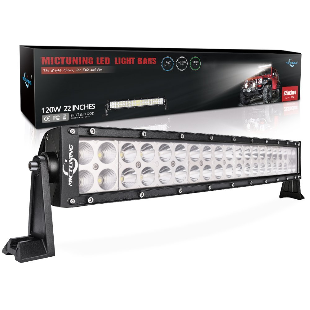 MicTuning Curved LED Work Light Bar/Fog Light with Combo Beam - 24 Month Warranty, Available in 4 Sizes