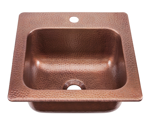 Sinkology Seurat Handmade Square Antique Copper Prep and Bar Sink