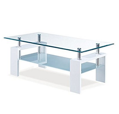 Global Furniture USA 2-Tier Glass Top Coffee Table with Chrome Tubes– Available in 2 Colors