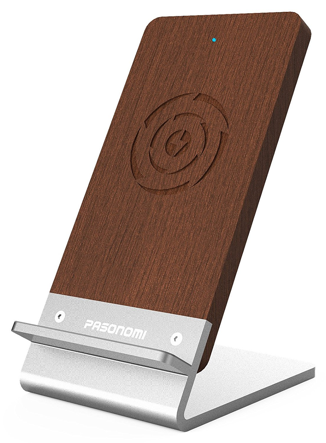 Pasonomi Wood Qi Fast Wireless Charging Stand for All Qi Enabled Devices
