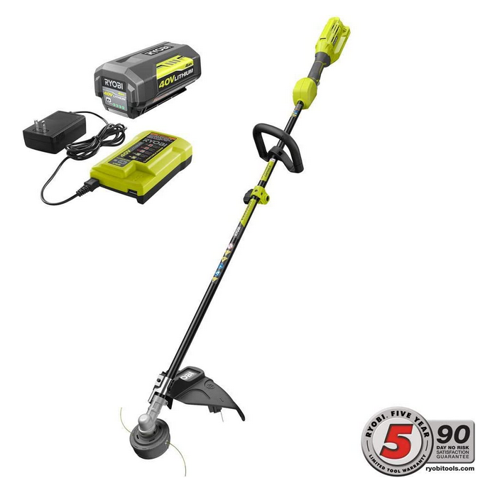 RYOBI 40-Volt Lithium-Ion Cordless Expand-it Attachment Capable String Trimmer - 4.0 Ah Battery and Charger