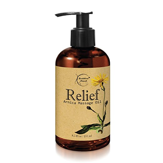 Brookethorne Naturals Sports and Athletic Relief Arnica Massage Oil  with Sweet Almond, Jojoba and Other Essential Oils