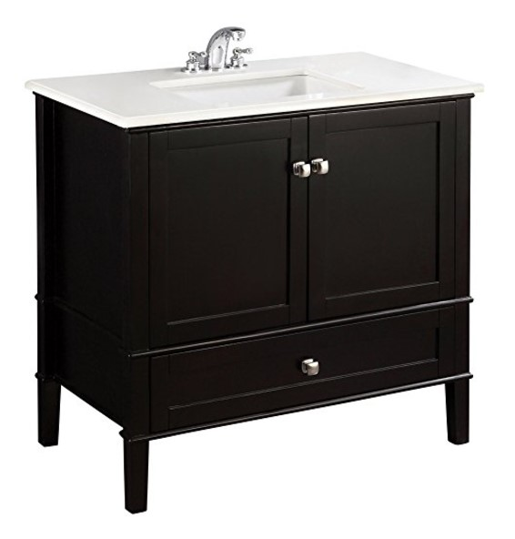 Simpli Home Chelsea Bath Vanity with White Quartz Marble Top - Available in 5 Sizes, 3 Colors & 3 Styles