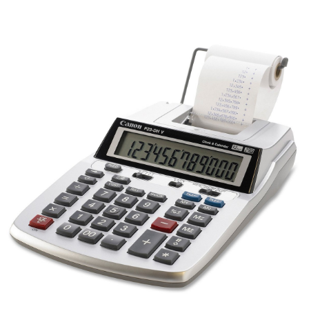 Canon Mini Desktop Printing Calculator with LCD Display, Clock and Calendar – Available in 2 Pack Sizes