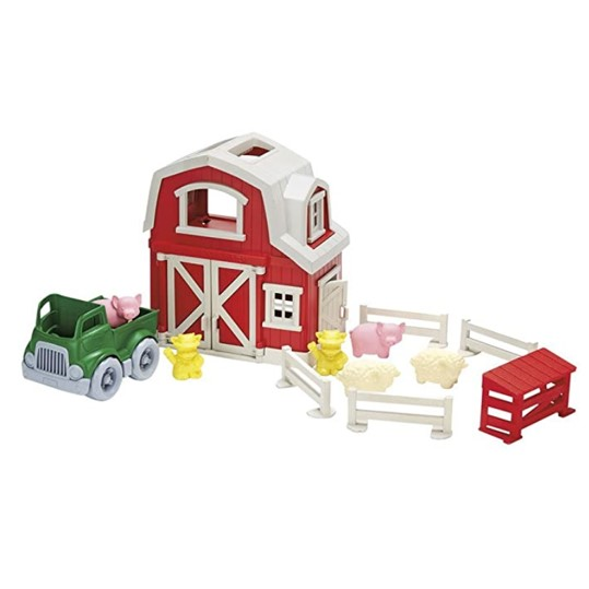 Green Toys Classic Red Barn Farm Playset