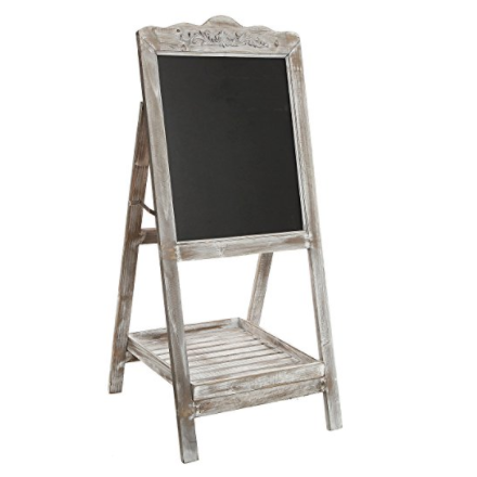 MyGift White-Washed Brown Wood Decorative Vintage Freestanding Message Chalkboard