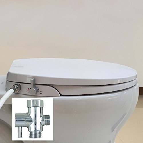 GenieBidet Bidet Seat with Dual Self Cleaning Nozzles Sleek Style – Available in Elongated or Round Style, Heated Option Too