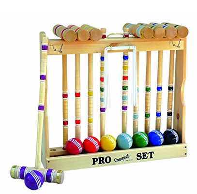 Amish Toy Box  Deluxe Wooden 8 Player Croquet Set - Available in 3 Handle Sizes and 2 Storage Options