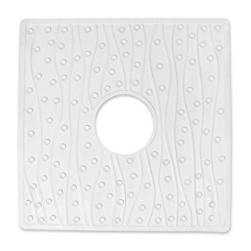 "Vive Square Non-Slip 22 x 22"" White Shower Mat with Drain Hole"
