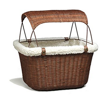 Solvit Tagalong Wicker Bicycle Basket for Pets