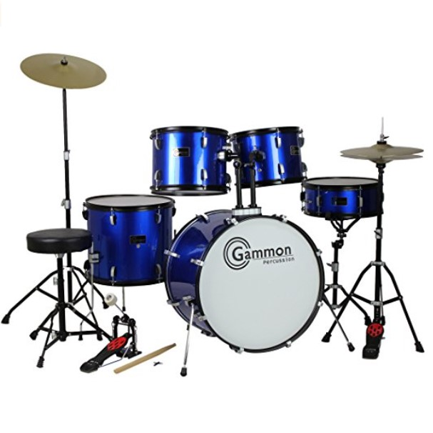 Gammon Percussion Full Size 5 Piece Drum Set - Available in 2 Colors