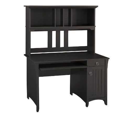 Bush Furniture Salinas Mission Style Desk with Hutch and Pullout Shelves for Keyboard or Laptop