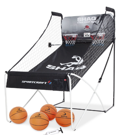EZ Fold Indoor Dual Basketball Game - Basketball Shooting Game Arcade for 2 Players with LED Scoring and Arcade Sounds