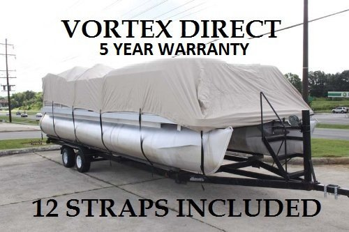 "Vortex New Blue 20 Feet Ultra Canvas Heavy Duty Pontoon/Deck Boat Cover – Fits 18'1"" ft to 20' Long Deck Area"
