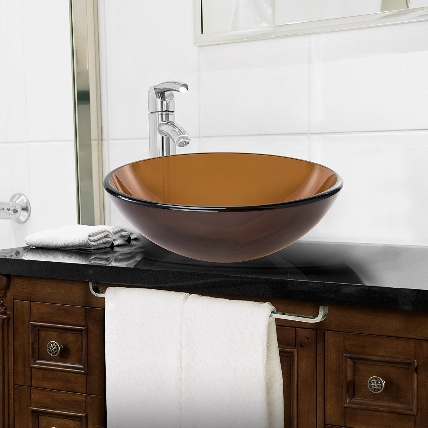 Miligore Tempered Glass Vessel Bathroom Sink
