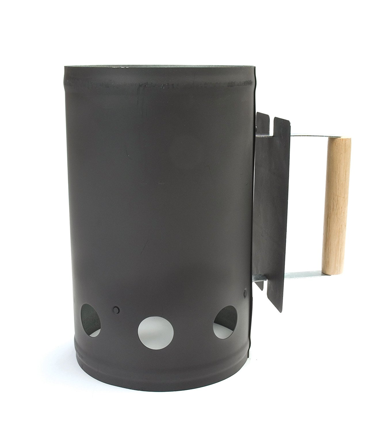 Charcoal Companion Black Chimney Charcoal Starter with Hardwood Handle