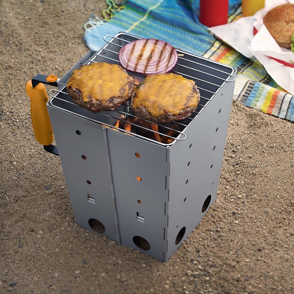 Outset Collapsible Camping Grill  and Chimney Starter
