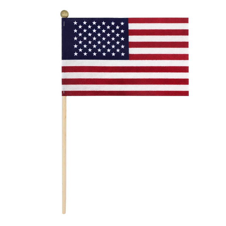 WindStrong American Flags on Wooden Stick